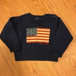 Navy Flag cotton crew neck sweater